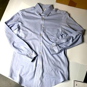 UniQlo Mens Small Blue Dress Button Down Shirt